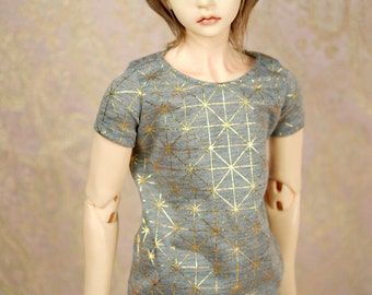 Super Gem SD17 Grey And Gold Geometric T Shirt For SD BJD Boys - Last One