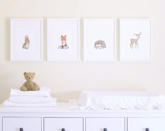 "Woodland Nursery Art, forest decor, Woodland Friends ""A"" SET OF 4, giclée prints, Kit Chase artwork, 5x7, 8x10, 11x14"