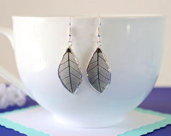 Rubber Leaf Earrings, Black Leaf, Real Leaf Jewelry, Black, Real Rubber Tree Leaves, LESM171
