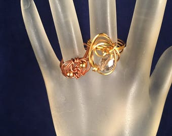 BOGO Copper and Gold Ring & Gold and Silver Ring, Two Wire Wrapped Rings Size 7.75 One of a Kind Previously 30 Dollars ON SALE