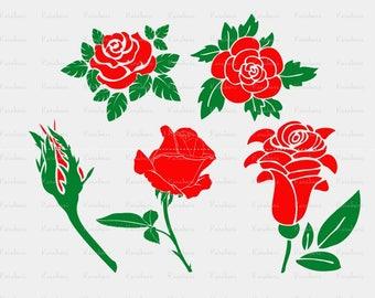 Rose silhouette Svg, roses svg, roses dxf, svg shirts Valentine's day svg, stencils svg, pattern svg, flowers svg, rose png, flower cut file