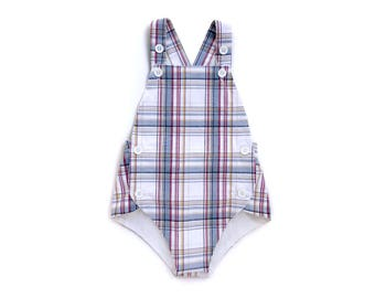 Baby Boy Sunsuit | Red White and Blue Plaid Romper | Onepiece Toddler Outfit | New Baby Gift |  Heirloom Keepsake First Birthday Outfit