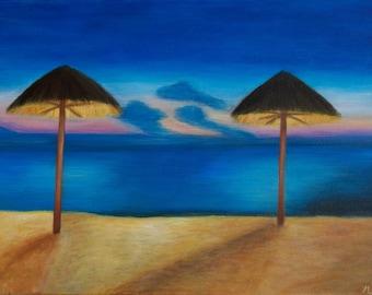 Evening Caribbean Beach Painting