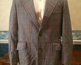 1970s Plaid Blazer - Mens Swanky Gray Disco Jacket from Boyd's size Large 45R