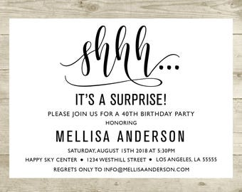 Surprise Birthday Invitation Surprise Party Invitation 50th