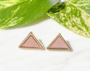 Gold Mini Stud Earrings / Triangle Stud Earrings / Triangle Earrings / Pyramid Earrings / Gold Triangle Earrings / Upcycled Jewellery