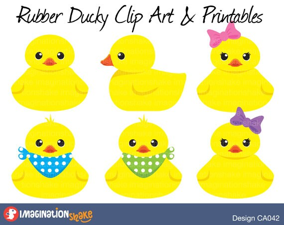 Rubber Duckies Baby Clip Art & Printables Set / Clipart / Rubber ...