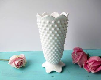 Vintage Fenton Milk Glass Hobnail Vase - Cottage Chic
