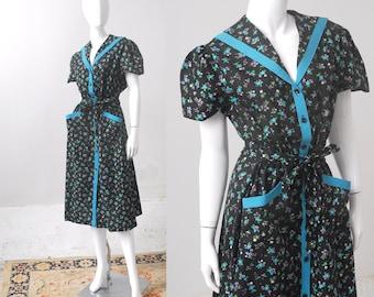 1950s Dress / XL Floral Cotton Dress / 50s Dress