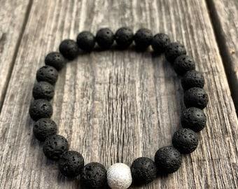 Essential Oil Bracelet, Lava Bead Bracelet, Lava Rock Bracelet, Gemstone Bracelet, Om Bracelet, Chakra Stones, Mala Bracelet Men, Lava Stone