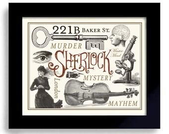Sherlock Holmes 221B Baker Street Phrenology Head Mastermind Geekery London England Dr Watson Microscope Office Art Detective Elementary