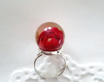 Real rose ring silver red resin ring  woman real red rose sphere Real flower ring adjustable ring Terrarium ring eco jewelry made in Italy