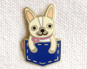 Blue Pocket Frenchie Pin - Lapel Pin - Cloisonné Enamel Pin - Shiny Gold Metal - French Bulldog - EP2079-BLUE
