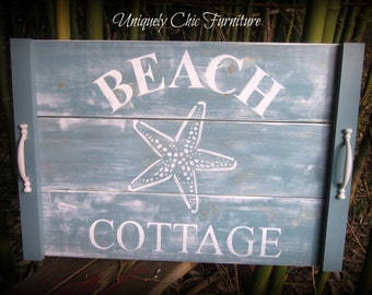 Turquoise Beach Cottage Coastal Serving Tray~Wall Decor~Art