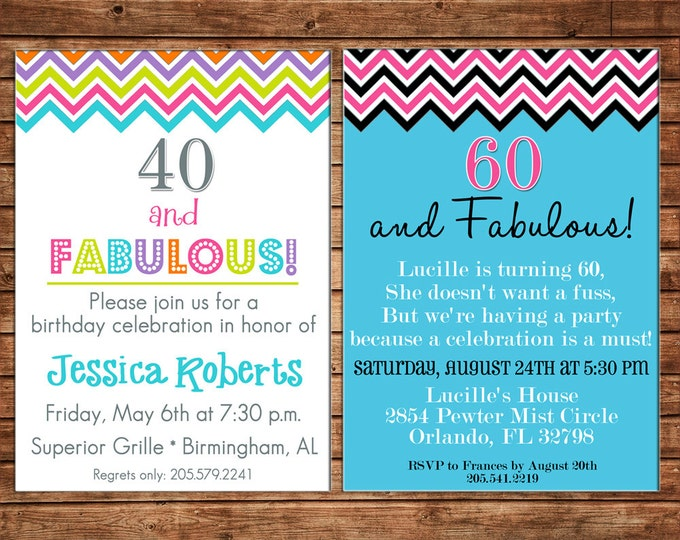 Girl Invitation Milestone Chevron Birthday Party - Can personalize colors /wording - Printable File or Printed Cards