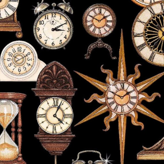timeless clocks fabric from quilting treasures