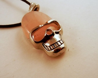 Rose Quartz Skull Necklace: Natural Crystal Pendant, Stone Jewelry