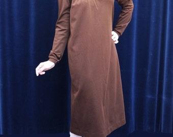 1970's dress 70's Vintage dress Brown Yoke Day Dress Prairie Boho Long sleeve Dress medium large / N1