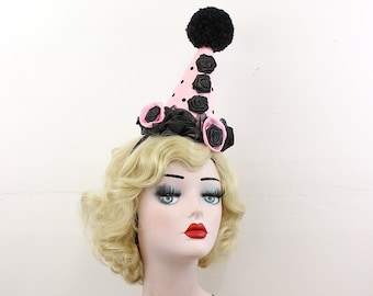 Black and Pink Polka Dot Clown Hat - Circus Costume - Birthday Party Hat - Cirque Theme - Pom Poms - Black Roses