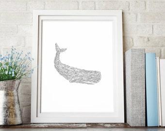 Gray Whale Print, Sketch Art Print, Minimalist Art, Gray Decor, Wall Print, Whale Wall Decor, Whale Printable Wall Art, Downloadable Print