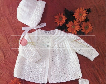 "Baby Set 18-19"" DK Sirdar 3191 Vintage Knitting Pattern PDF instant download"