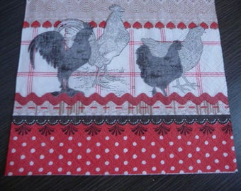 Chicks and roosters napkin