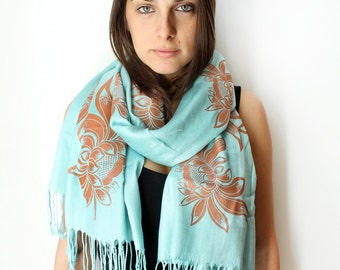 Silk Blend Hand Printed Lotus Flower Scarf Turquoise/Copper