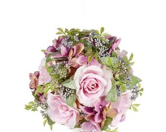 Mauv Wedding Flowers artificial roses pomander kissing ball bridesmaid silk flower