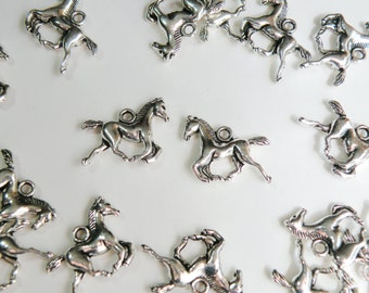 10 Galloping Horse charms Chinese Zodiac Year of the Horse FFA antique silver 15x20mm DB29528