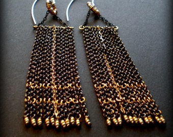 Long Chandelier Statement Earrings / Mother's Day Wife / Mixed Metal Chain / Plaid Flag / Black Sexy Earrings / Boho Bohemian Jewelry