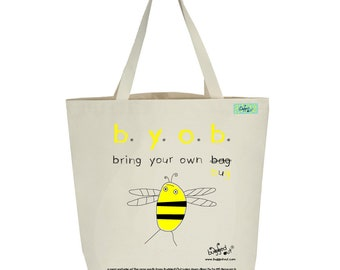 Recycled cotton canvas tote bag with screen printed bumblebee design by Bugged Out
