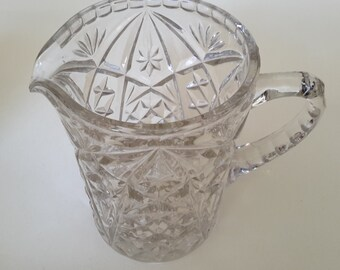 Large Mid Century clear pressed glass jug, creamer, vintage, retro