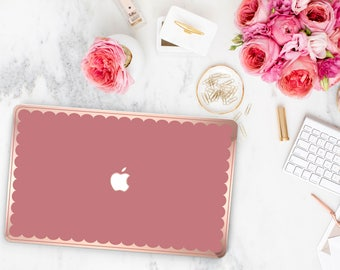 Macbook Pro 13 Case Macbook Air Case Laptop Case Macbook Decal Mauve Glow and Scallop Rose Gold Chrome Edge