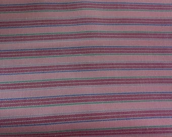 Pink Maroon Green Gray Blue Stripe Fabric 2 Yards Cotton