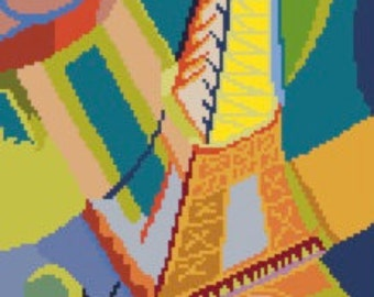 Eiffel Tower Counted Cross Stitch Pattern PDF Chart Fine Art Robert Delaunay Instant Download Vibrant Colors