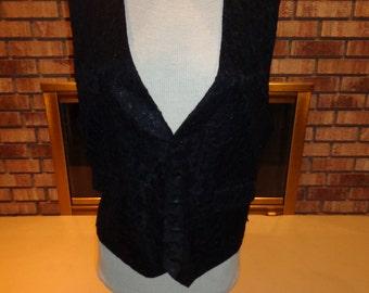 Vintage 70s Black Lace Vest