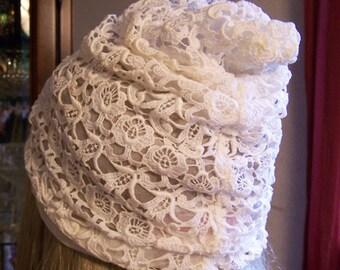 Rare Vintage 1950s LILLI DACHE Silk Alencon Lace and Organza Bridal Cap Near Mint