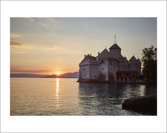 Chillon Castle at Sunset - Switzerland - Color Photo Print - Fine Art Photography (SW11)
