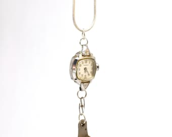 Steampunk Inspired Working Silver Plate Vintage Watch Movement Pendant 00125