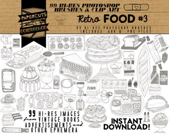 Retro Food #3 - 99 Hi-Res Photoshop Brushes / Clip Art / Image Pack - Includes .ABR and .PNG Files