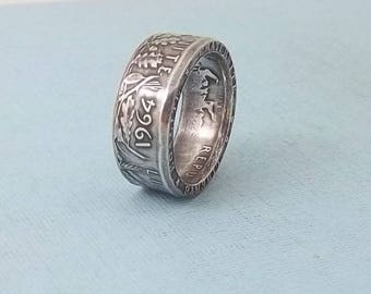Silver coin ring 1964  French 5 Franc  fine silver jewelry size 10