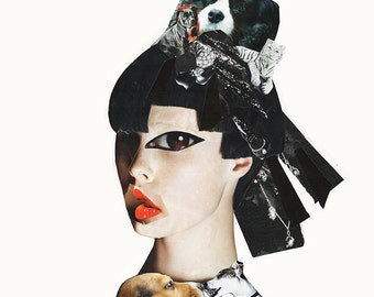 DOG GEISHA Collage Print / Mixed media / Japan / Girl / Dogs / Art / Woman / Dog (sizes a4 - a3)