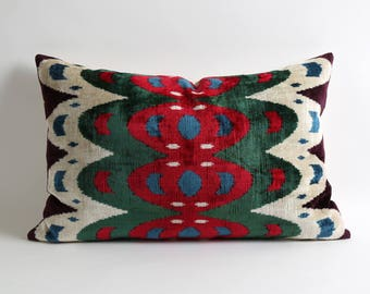 16x24 decorative lumbar throw pillow cover // red green cream handwoven silk velvet ikat pillow cover // eco friendly home decor