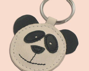 Panda Bear Leather Keychain - FREE Shipping Worldwide - Panda Leather Bag Charm