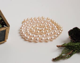 Vintage Faux Pearl Necklace Strand - Necklace - Classic - Champagne