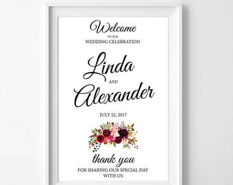 Wedding Floral Welcome Sign - Large Wedding Sign, Various Print Sizes Available