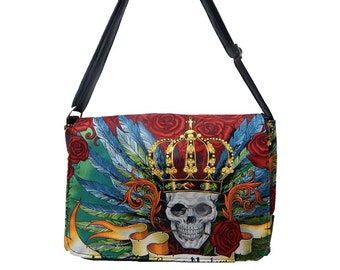 "US Handmade Laptop Case Shoulder Bag With ""Vintage SKULLS DUGGERY"" Pattern Messenger bag With Adjustable Handle Purse, Cotton, New"