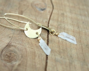 Crescent moon crystal quartz, Crystal dangle earrings, crescent moon and crystal earrings, hammered jewelry, festival jewelry, gift for her