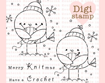 I Love Crocheting and Knitting Birdies Digital Stamp Set Line Art for Card Making, Paper Crafts, Scrapbooking, gift tags, Coloring Pages