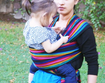 Mexican Nantli Black w colors stripes black outline Wrap available in 5,5 yards Baby carrier